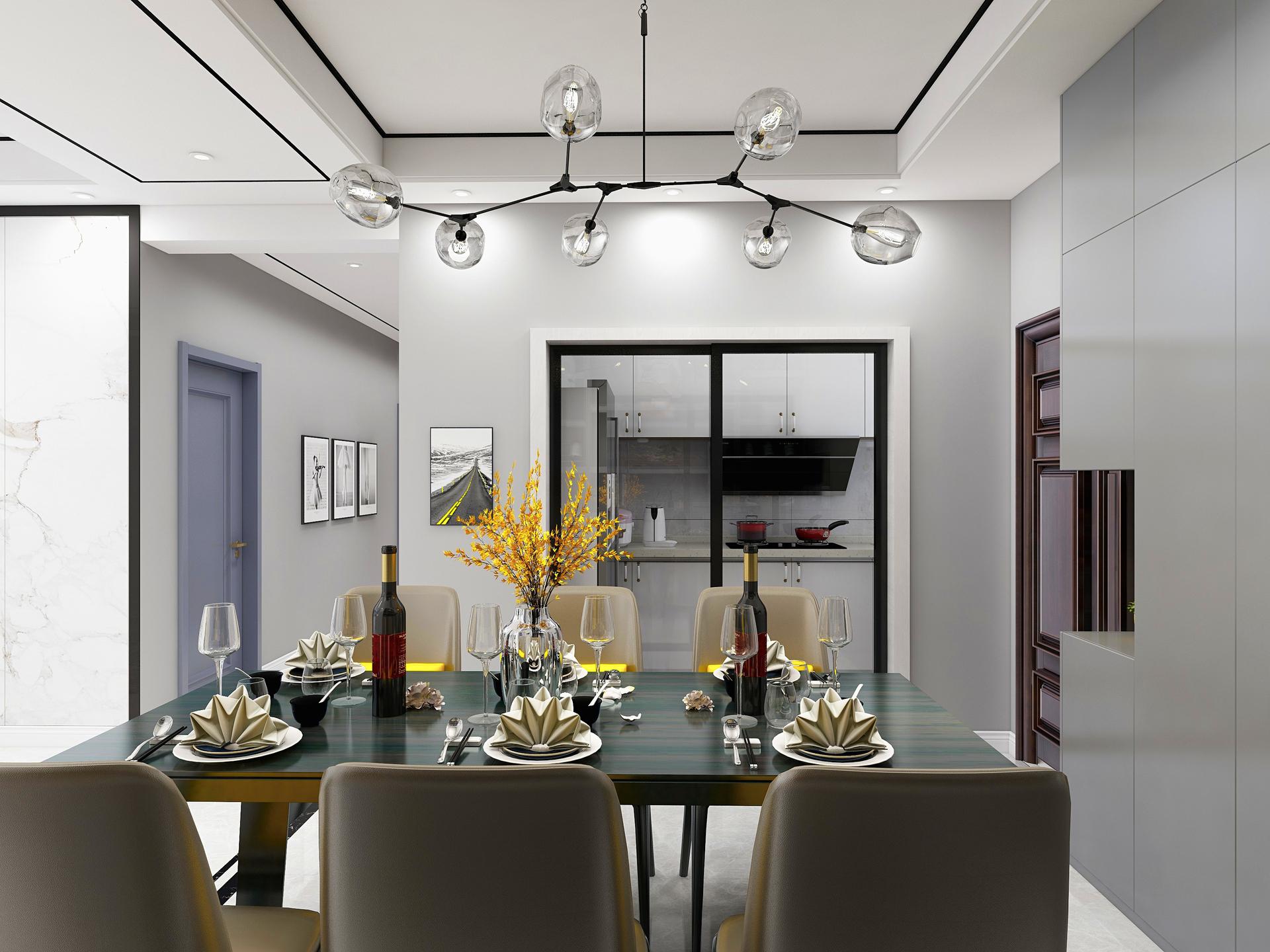 餐厅是一家人难得聚在一起共同进餐、交流的空间,没有多余的装饰,仅有温馨为主!