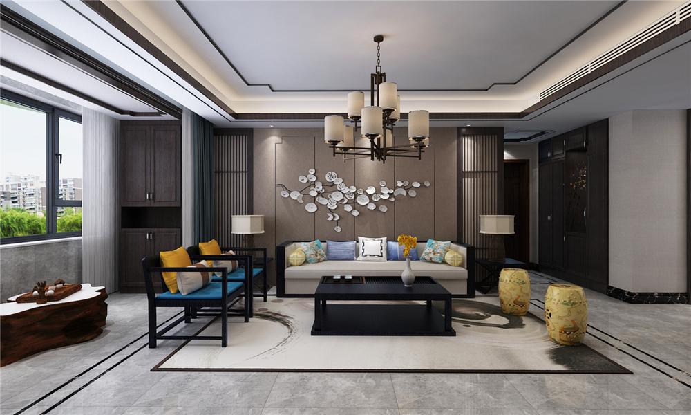 頂部與地面造型相呼應,沙發背景墻采用擁有濃郁元素的中式配飾點綴。