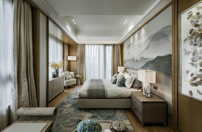 臥室背景墻以一幅山水潑墨為背景,搭配具有中式元素的地毯與掛畫,讓整個家中富有文化而不古板!