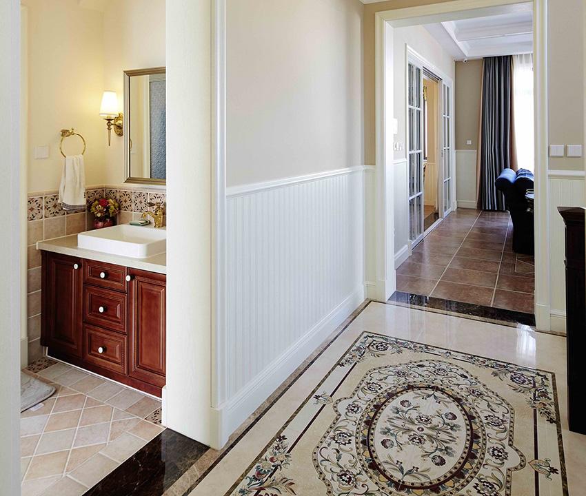 整個家中地面拼花較少,但是在走廊處的少量拼花點綴會讓人眼前一亮。