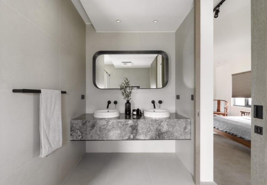 太原浴室装修之双面洗脸盆设计