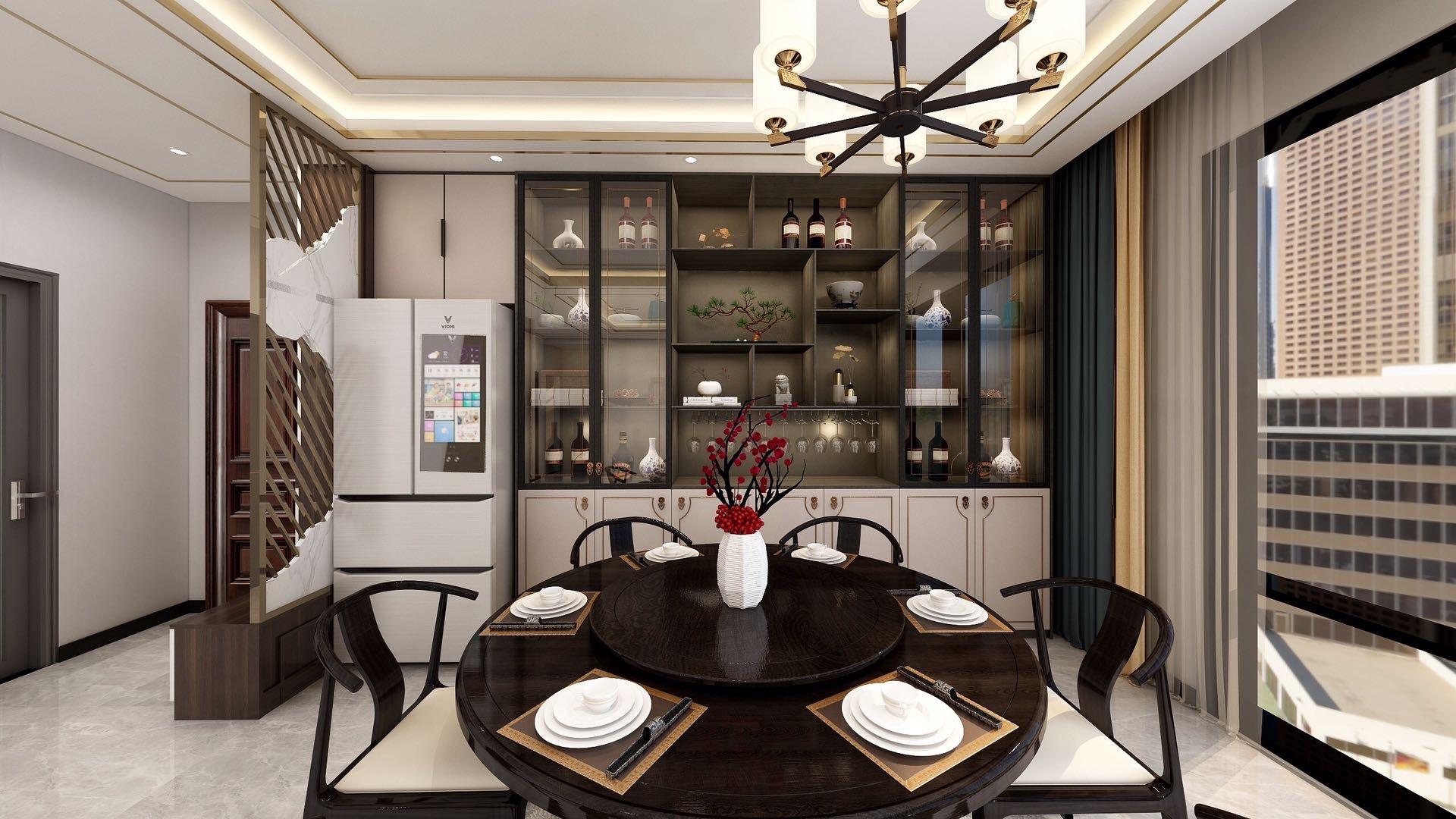 山西忻州御龙庭三室两厅两卫新中式装修风格
